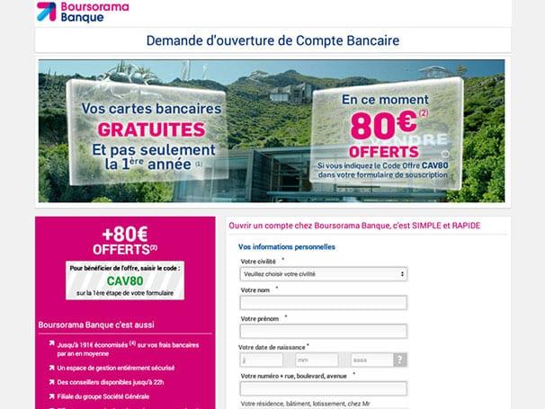 Site web de la banque en ligne BOURSORAMA BANQUE
