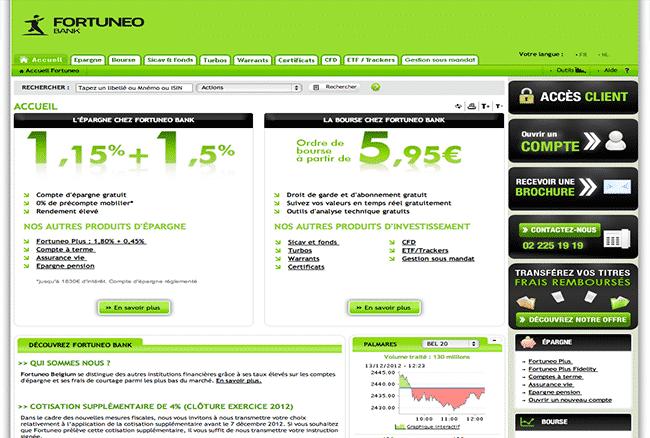 Site web de la banque en ligne FORTUNEO BANQUE
