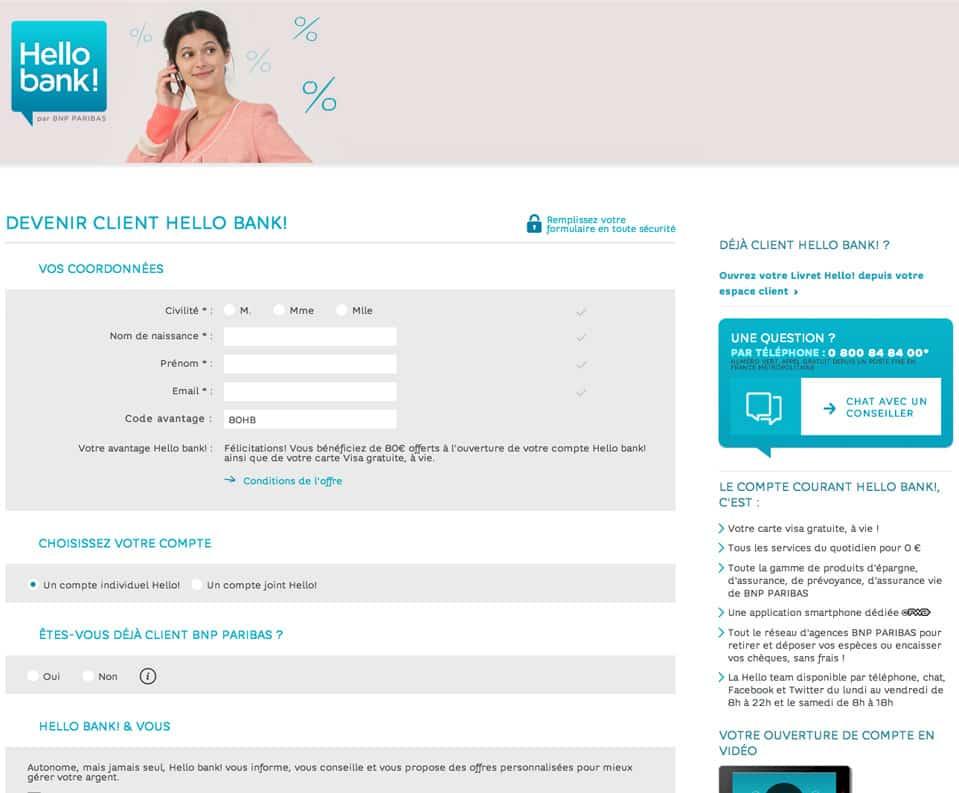 Site web de la banque en ligne HELLO BANK !