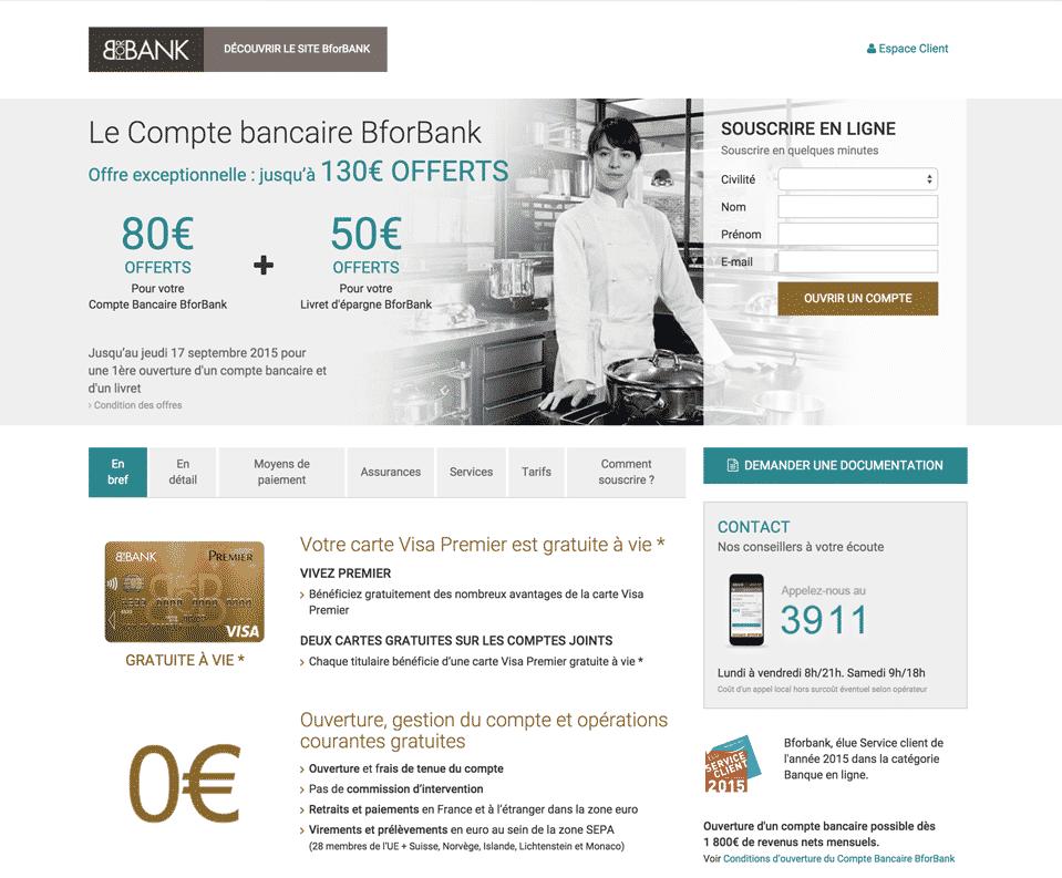 Site web de la banque en ligne Banque BforBank